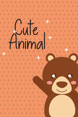cute animal bear cartoon bright background vector illustration