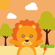 cute animal lion cartoon landscape trees clouds vector illustration - 198329493