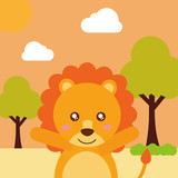 cute animal lion cartoon landscape trees clouds vector illustration