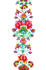 Eastern european decor - seamless floral border with ethnic flowers. Watercolor banner