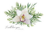 Vector floral greeting card design with elegant bouquet of white pink tropical orchid flower, lilac, eucalyptus green branches, greenery herbs, palm leaves. Romantic editable isolated designer element