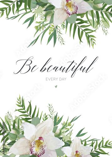 wektor-kartke-z-zyczeniami-projekt-plakatu-pocztowka-plakat-z-biale-kwiaty-orchidei-galezie-eukaliptusa-zieleni-las-tropikalny-palmy-zielone-liscie-ramki-elegancki-styl-akwarela-szablon-z-miejsca-na-kopie
