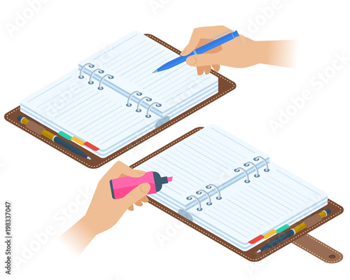 Flat Isometric Illustration Of Opened Personal Planners Hands With