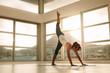 Fitness woman in Adho Mukha Svanasana pose at gym