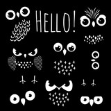 Hello with cartoon owl eyes