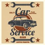 Vintage car service logo - auto repair grunge