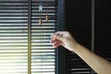 Wooden blinds decoration in living room  - 198345477