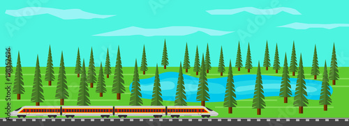 Foto Spatwand Groene koraal Modern Train on Rails in Picturesque Landscape with Lake and Forest