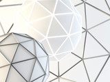 Abstract white structural composition with geosphere. Architectural background. 3D illustration and rendering