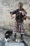 Artiste de rue jouant du violon dans une rue de Rouen - 198355483