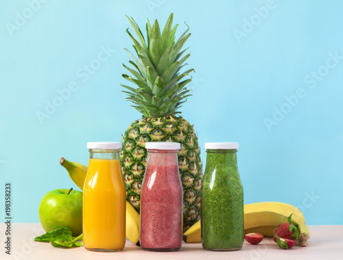 Colorful organic smoothies in bottles. Natural Organic Food Style. - 198358233