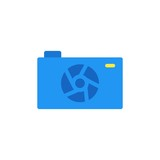 camera caption flat vector icon