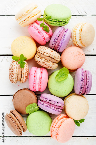 Sticker Sweet and colourful french macaroons.