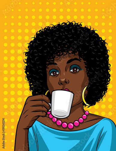 Vector illustration in comic art style of  beautiful african american woman with cup of coffee. Fashionable lady drinking a coffee over halftone dot background © yanatamashova