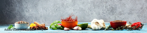 Spices and herbs on table. Food and cuisine ingredients. - 198361281