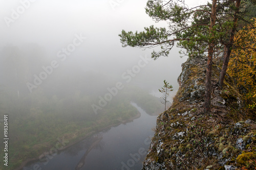Foto op Canvas Wit landscape, nature, lake, water, forest, tree, river, sky, fog, mountain, blue, view, clouds, autumn, trees, green, mountains, mist, park, travel, panorama, sea, sunset, reflection, summer