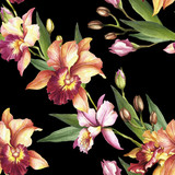 Seamless pattern with Orchids. Hand draw watercolor illustration. - 198361828