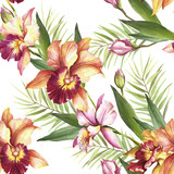 Seamless pattern with Orchids. Hand draw watercolor illustration. - 198361841