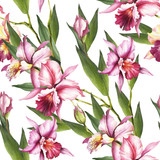 Seamless pattern with Orchids. Hand draw watercolor illustration. - 198361860