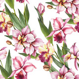 Seamless pattern with Orchids. Hand draw watercolor illustration. - 198361880