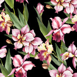 Seamless pattern with Orchids. Hand draw watercolor illustration.