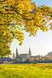 Leinwanddruck Bild - Historic old town of Dresden in autumn with colorful trees and leaves