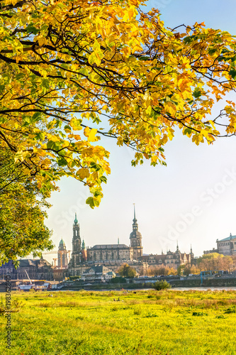 Leinwanddruck Bild Historic old town of Dresden in autumn with colorful trees and leaves