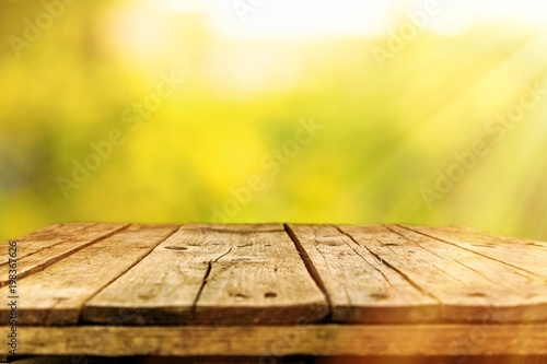 Old wooden table - 198367626