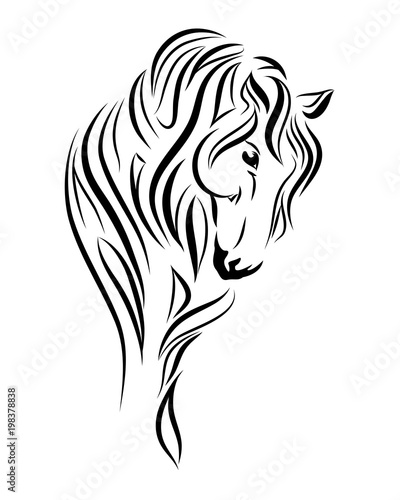 b7b54b615 Horse looking down line art, tribal. Freehand vector illustration ...