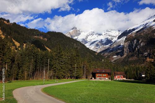 Foto op Aluminium Grijze traf. Berner Oberland alpine landscape in Kandersteg, Switzerland, Europe