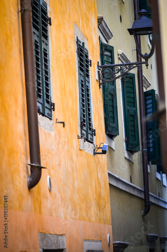 Fotobehang Smalle straatjes streets of Trieste close up view