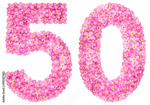 Poster Arabic numeral 50, fifty, from pink forget-me-not flowers, isolated on white bac