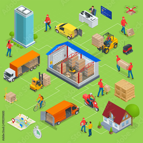 Isometric Logistics and Delivery Infographics. Delivery home and office. Warehouse, truck, forklift, courier, drone and delivery man.