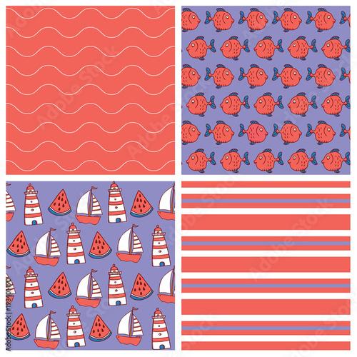 set of comic hand drawn seamless sea patterns