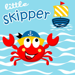 Little crab cartoon with sailboat. Eps 10