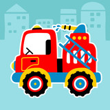 Firefighter cartoon with water cannon. Eps 10