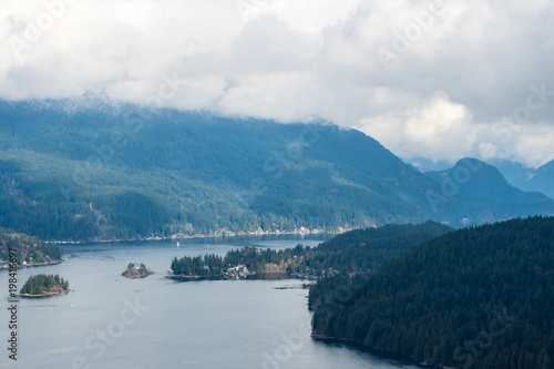 Fotobehang Bleke violet view of Indian Arm inlet from the mountain top