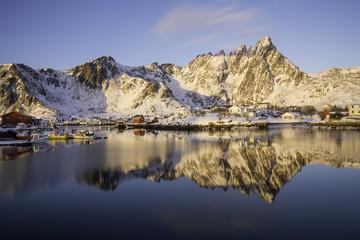 reflection of fishing village