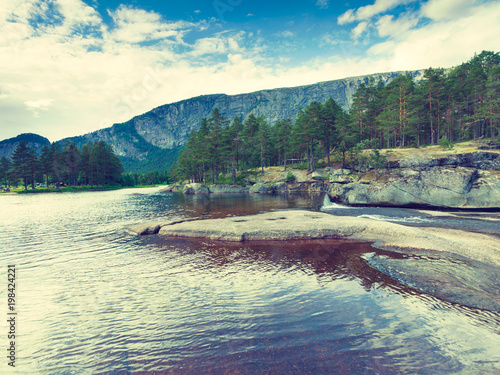 Foto op Canvas Beige Beautiful view of mountain river in summer