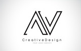 AV Letter Logo Design in Black Colors.