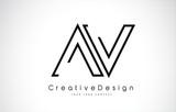 AV Letter Logo Design in Black Colors.