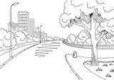 Street road graphic black white city crossroad landscape sketch illustration vector  - 198428637