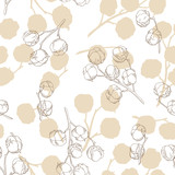 Cotton plant graphic beige color seamless pattern background sketch illustration vector - 198429013