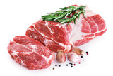 Fresh raw pork neck meat, garlic, pepper and rosemary isolated on white background. - 198430068