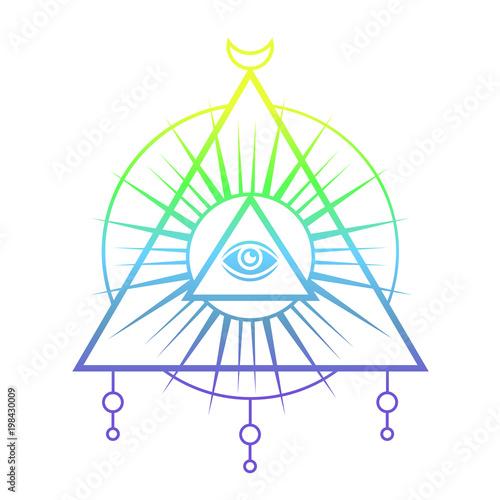 Plexiglas Hipster Hert Sacred eye. Tattoo mystic design