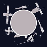 Satellites and rockets in space. Vector frame.