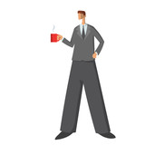 Businessman, man in business suit standing with a cup of coffee or tea. Business character, vector illustration, isolated on white background.