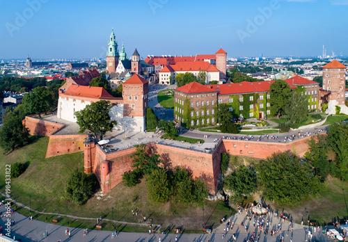 Foto op Plexiglas Krakau Krakow, Poland. Wawel Hill with Cathedral, Royal Castle, defensive walls, park, promenade and unrecognizable walking people