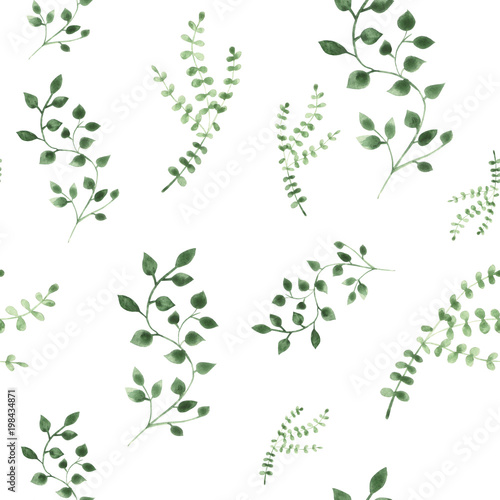 Watercolor illustration green leaves on isolated background. Seamless pattern. - 198434871