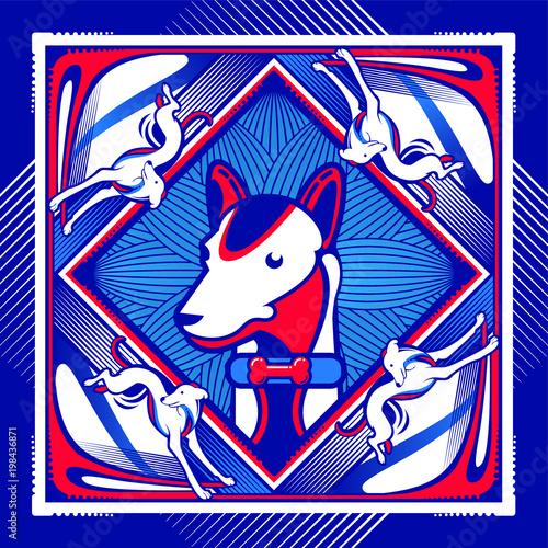 Fotobehang Graffiti dog square blue